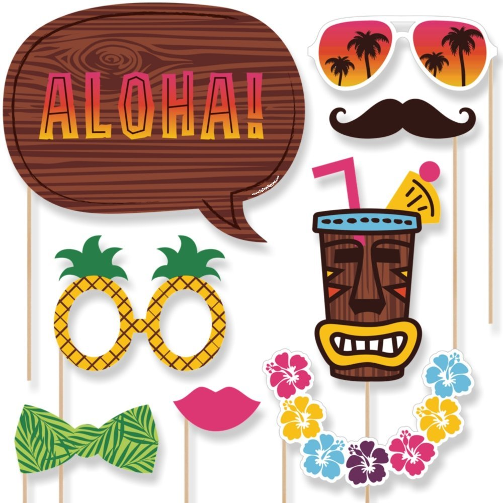 Photo Booth Props Aloha Hawaiian Summer Parties Diyluau Flamingo Hawaii Beach Wedding Party Decoration Photobooth In From