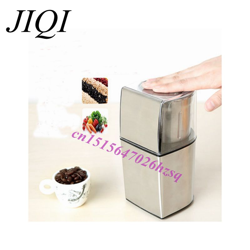 JIQI Electric Coffee Spice Grinder maker Stainless Steel Blades Beans Mill Herbs Nuts Moedor Cafe Home Use abs plastic electric pepper spice sea salt mill grinder muller yellow