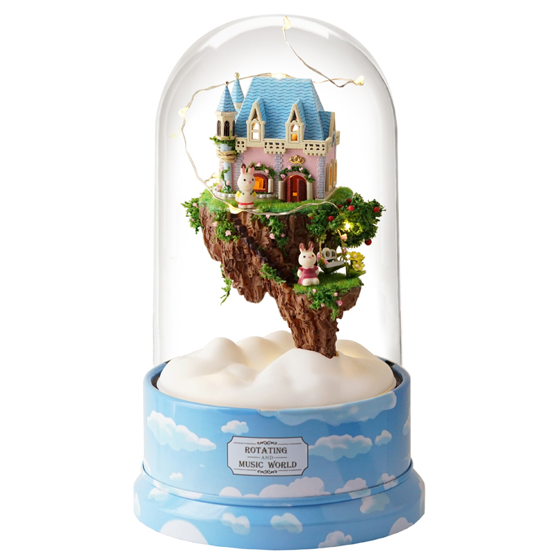 Miniature Castle in the Sky Rabbit Dollhouse DIY Wooden Dolls House Furniture Kits Glass Cover With LED Lights Music Box Gift