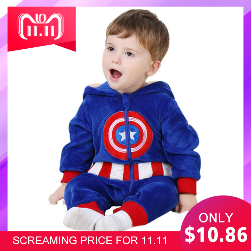Baby Romper captain america costume Long Sleeve 3m-24m Boys Girls Clothes Warm Velvet Jumpsuit Boys Outwear Clothes YAOYAO BEAR 6m 24m newborn unisex baby clothes elephant baby girls boys long sleeve jumpsuit clothing winter warm romper body baby clothes