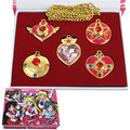 Anime 5pc/lot Gold Sailor Moon Action Figure Pendants Pretty Guardian Heart+Star+Moon Winged Heart for Pendant Necklace Cosplay