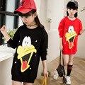 Children cotton sweatershirt spring 2017  new girls outwear a cute cart  duck cartoon