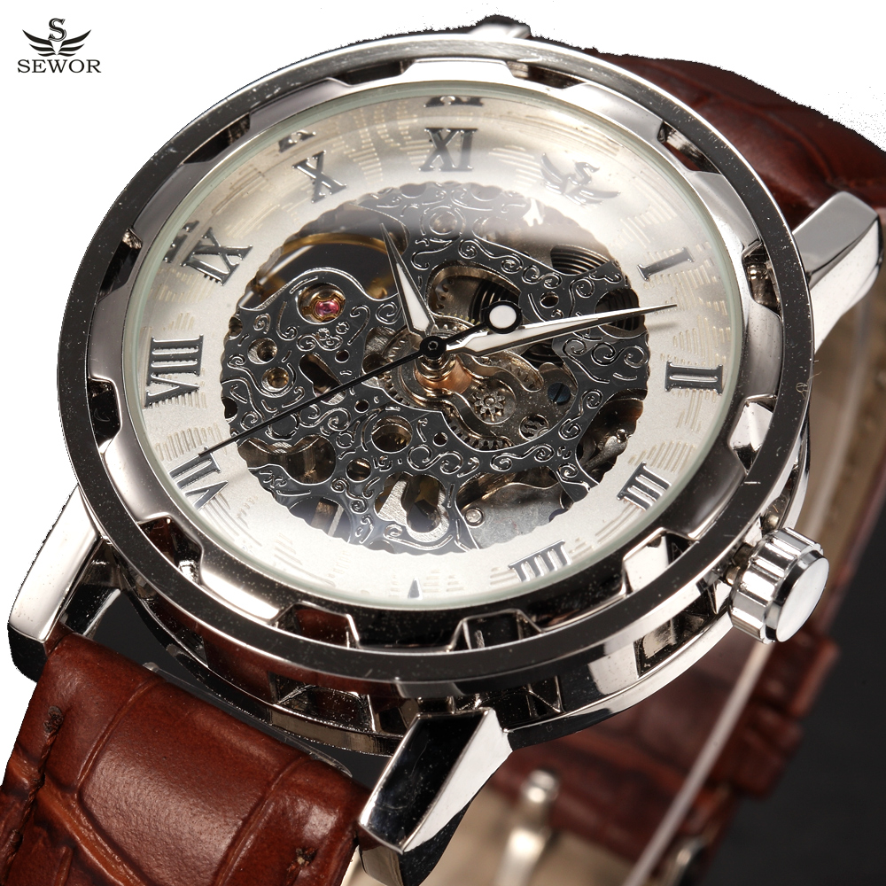 Prix pour 2016 SEWOR Marque De Luxe Montre Mécanique Hommes De Mode Casual Horloge En Cuir Mens Montres Squelette Montre Montre Homme Relogios