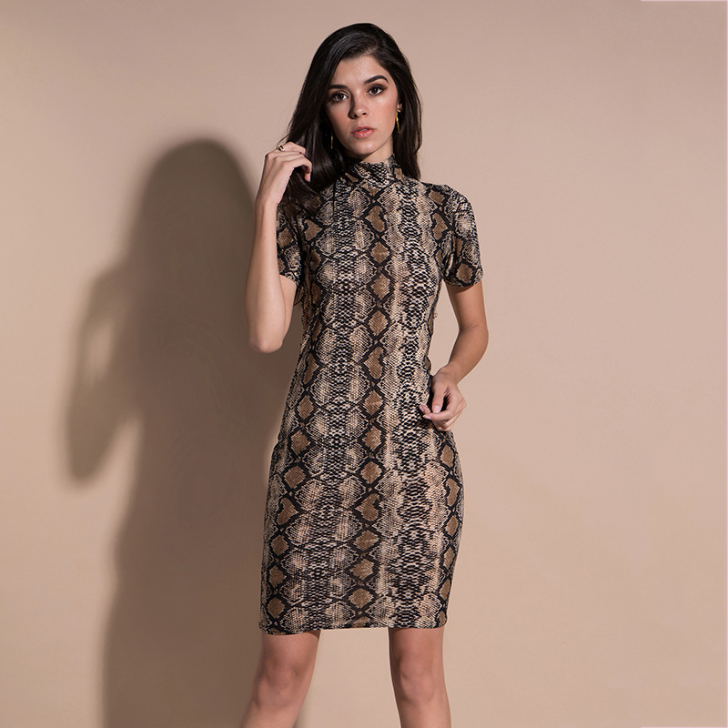Women Sexy Snake Skin Print Bodycon Dresses 2018 Summer New Short Sleeve Lace Slim Pencil Party Dresses Vestidos Female Clothing