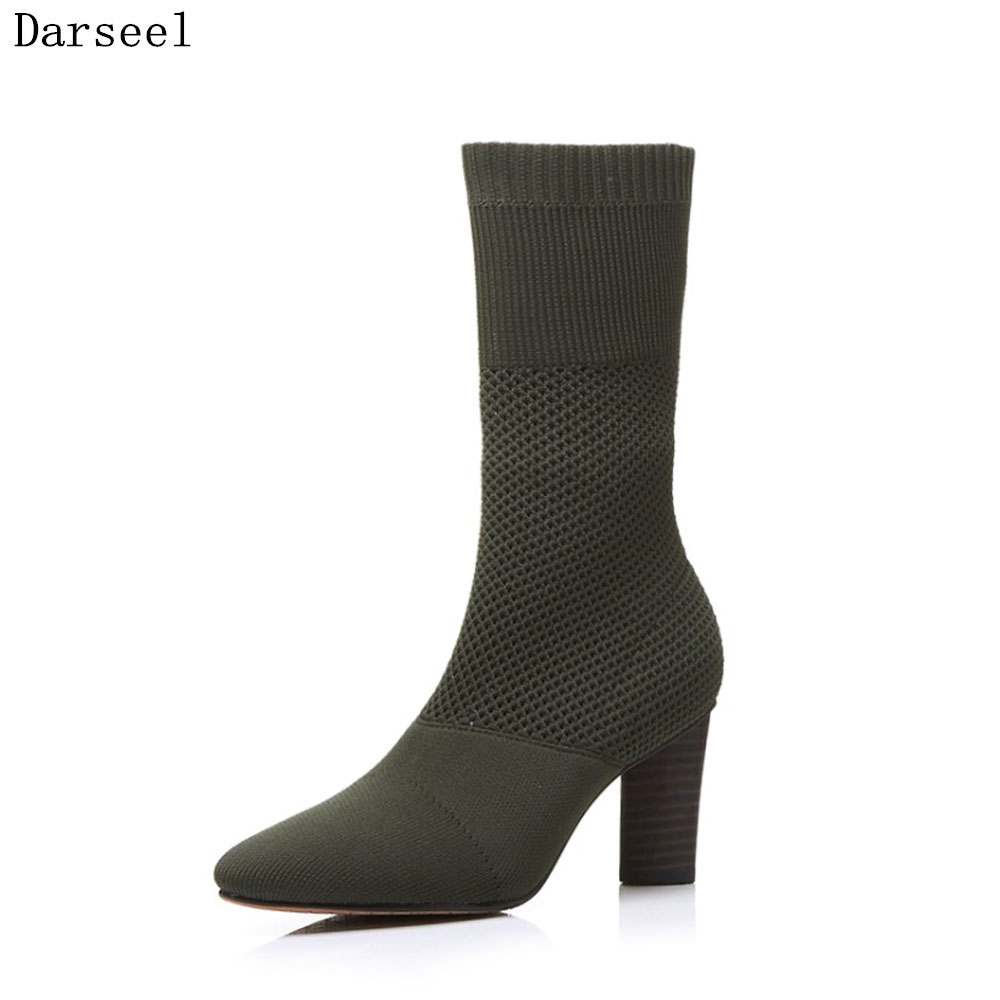 Darseel 2018 Autumn Winter Ladies Mid Boots Vintage Knitting Patchwork Stretch Vintage Pointed Toe Square Heel Pumps black/green