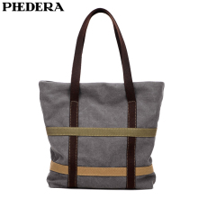 PHEDERA New Canvas Simple Women Shoulder Bag High Quality Female Handbag Khaki Black Gray Shopping Bags
