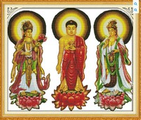 שלוש מערבי קדושי (3) ערכת תפר צלב דת לספור מראש הדפסת רקמת 11ct 14ct יד diy בעבודת יד רקמה ספקים תיק