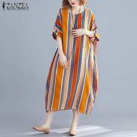 Bohemian Dress ZANZEA 2019 Women Casual Party Vestido Summer Fashion Striped Sundress Batwing Sleeve Loose Long Maxi Femme Robe