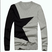Newest Men Trends Sweaters Clothing Full Sleeve Slim Contrast Color Clothing O Neck Man Knitting All