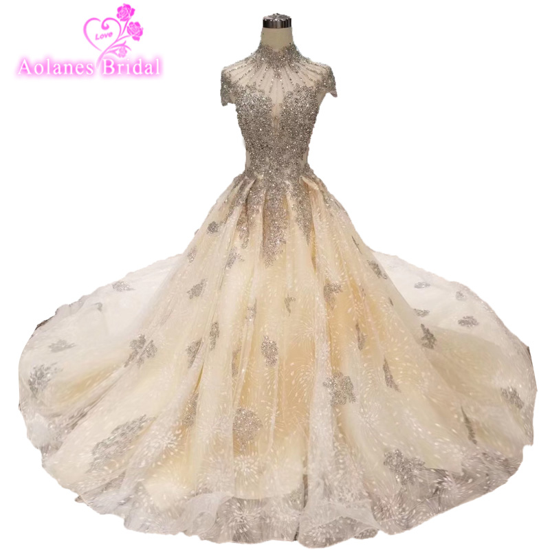 High Neck Crystals Beads Silver Prom Dress 2019 Vestidos Largos De Noche  Champagne Glingter Skirt Lace Evening Gown Party Dress 0c901533d73f