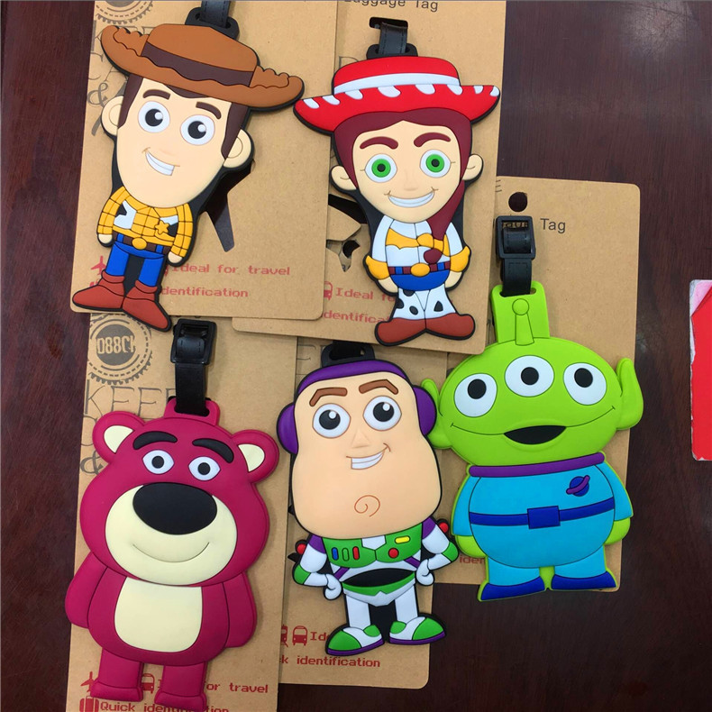 2018 Real Travel Accessories Cartoon Luggage Tag Toy Story Astronauts Woody Third Seed Shape Silica Gel Portable Suitcase Label