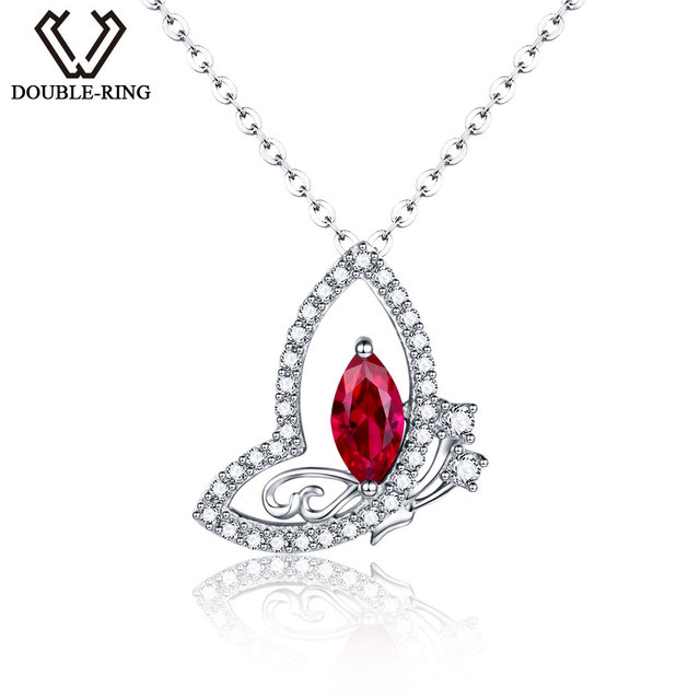 Double r genuine solid 925 sterling silver pendants created red ruby double r genuine solid 925 sterling silver pendants created red ruby necklaces pendants for aloadofball Gallery