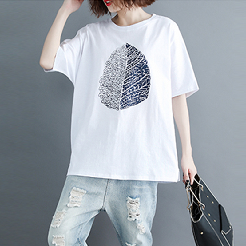 Mr nut 2019 spring and summer new style literary casual printing short sleeved loose T shirt female in T Shirts from Women 39 s Clothing