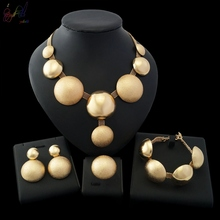YULAILI Free Shipping 2018 New Coming Ball Design Long Necklace Gold Filled Jewelry Set
