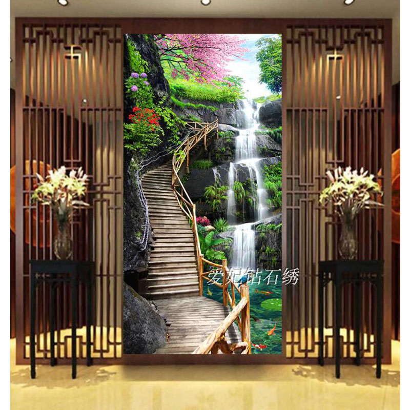 ラウンドドリルダイヤモンドクロスステッチ、ダイヤモンド絵画、桜滝、風景画、 5D 、ダイヤモンド刺繍、入り口  グループ上の ホーム&ガーデン からの ダイヤモンド ペイント の中 1