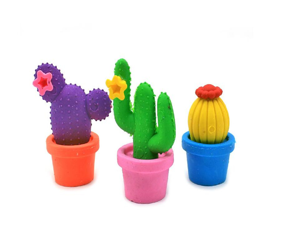 2017 New Arrival Colorful Cactus Eraser Funny  Fairy Ball School Eraser Holiday Gift Eraser MOQ 15 Pieces Per Lot