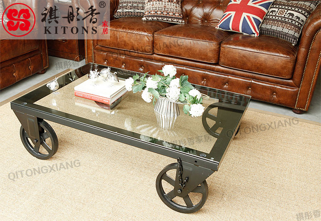 Kee Tong Xiang American Household Iron Furniture, Wrought Iron Wheel Coffee  Table Tea Table A
