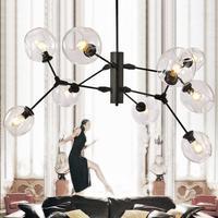 Новый современный подвесной светильник Люстры для жизни столовая магазин современная люстра E27 черного и золотого цвета Стекло Подвеска Лю