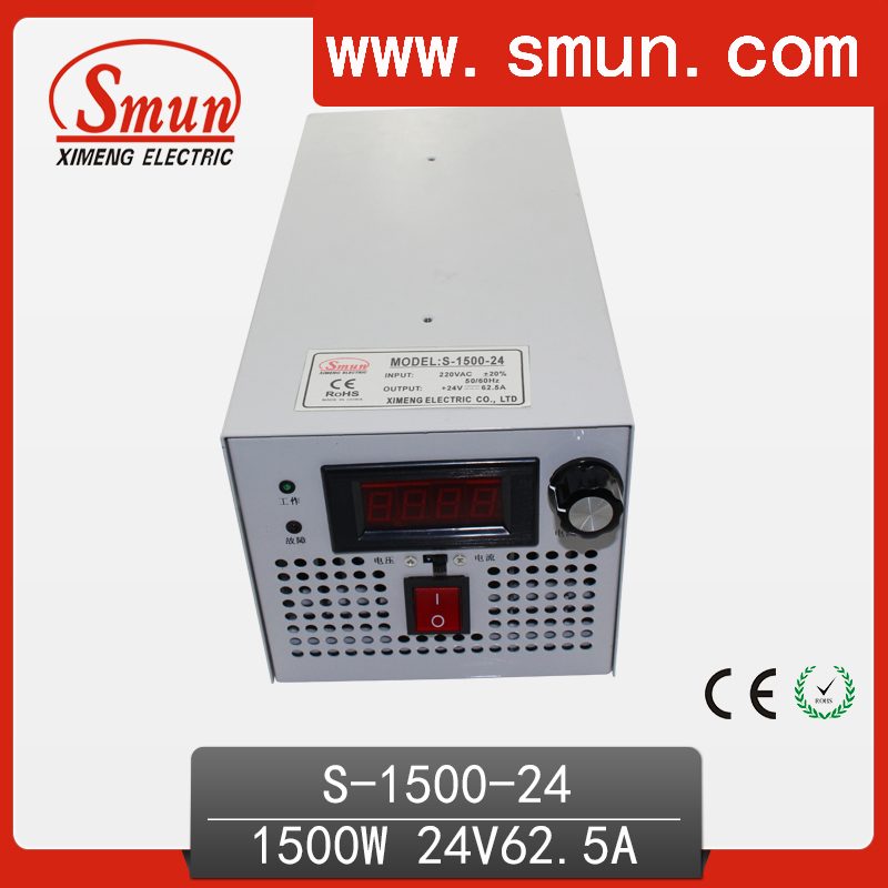 1500W 24VDC 62.5A Single Output Switching Power Supply AC-DC Switched Mode Led Driver S-1500-24 dc led switching mode power supply single output adjustable power supply 15v 200w free shipping