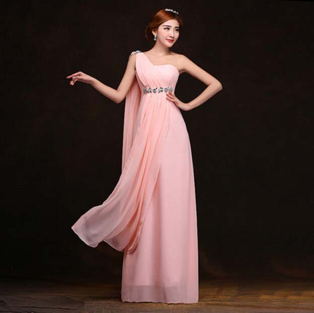 sister and bride dress the one shoulder elegant long chiffon evening ...
