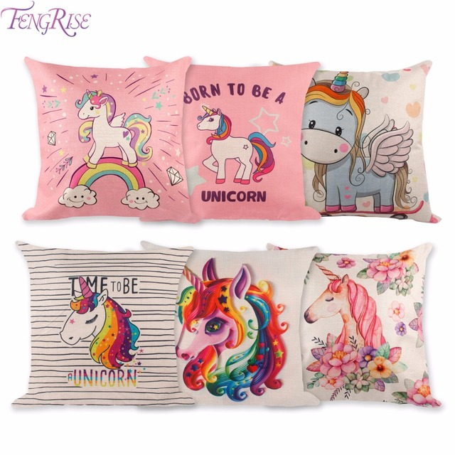 fengrise 45x45cm unicorn pillow case diy unicorn party decoration