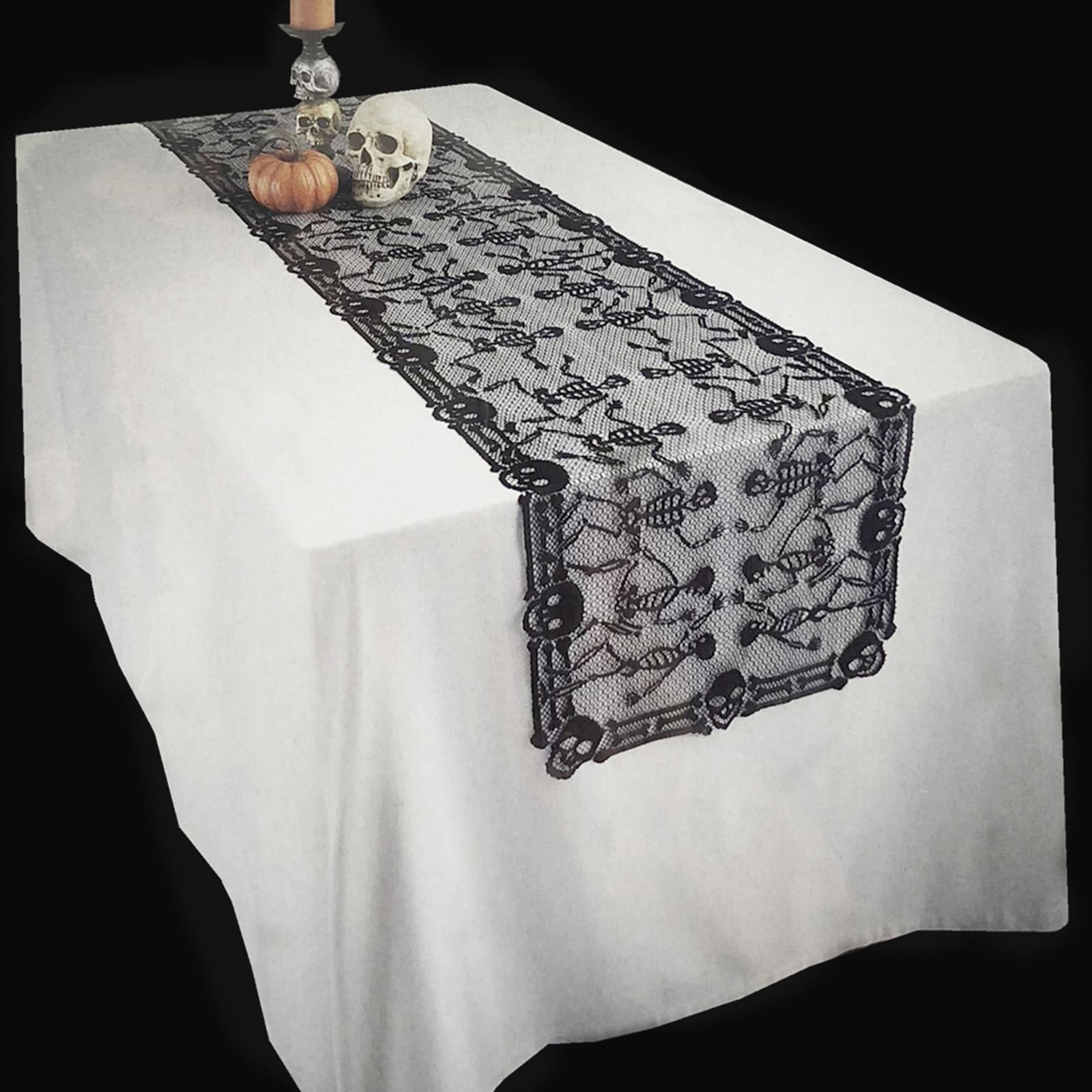 Black Spider Web Horror Skull Skeleton Web Table Runner Dining Table Cover Tablecloth For Festival Halloween Party Decoration