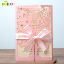 High grade sweet pink pearl wedding invitation card fancy lace cards with cheap price