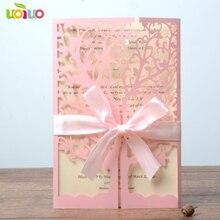 Hoogwaardige zoete roze parel uitnodiging fancy lace kaarten met goedkope prijs