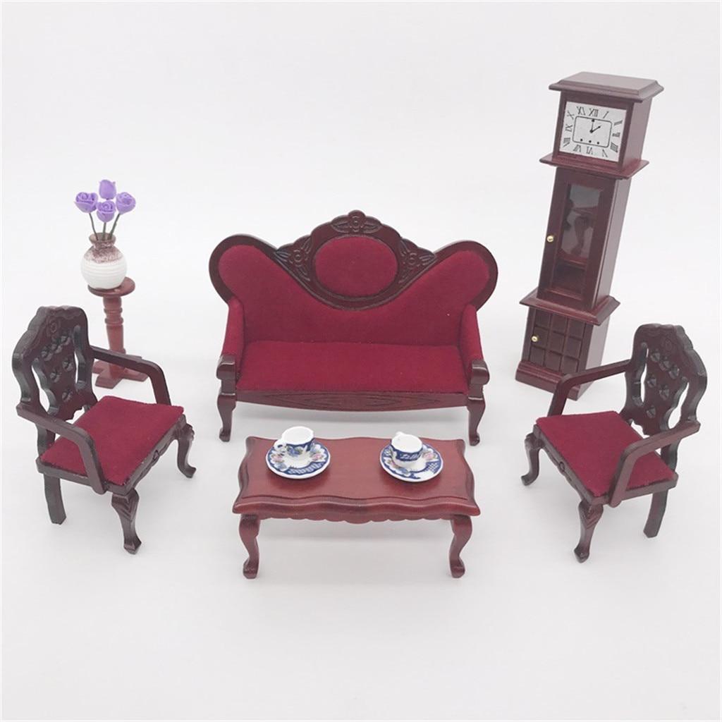 Dollhouse Furniture Mini Sofa Set Miniature Living Room Kids Pretend Play Toy Dolls Decoration Handmade Simulation TOY A613