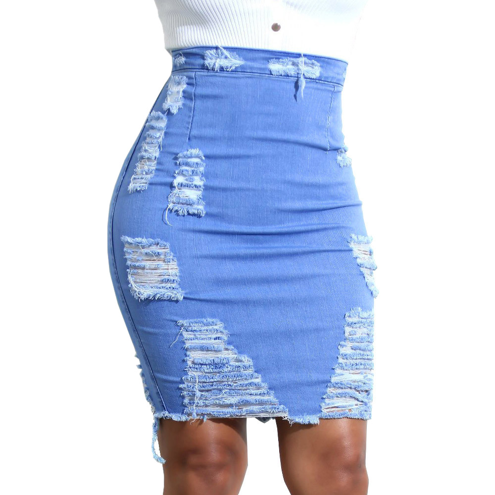 Plus Size Ladies High Waist Ripped Denim Distressed Skirt Sky Blue Slim Pencil Bodycon Mini Jean Skirt Casual Womens Skirt Jupe