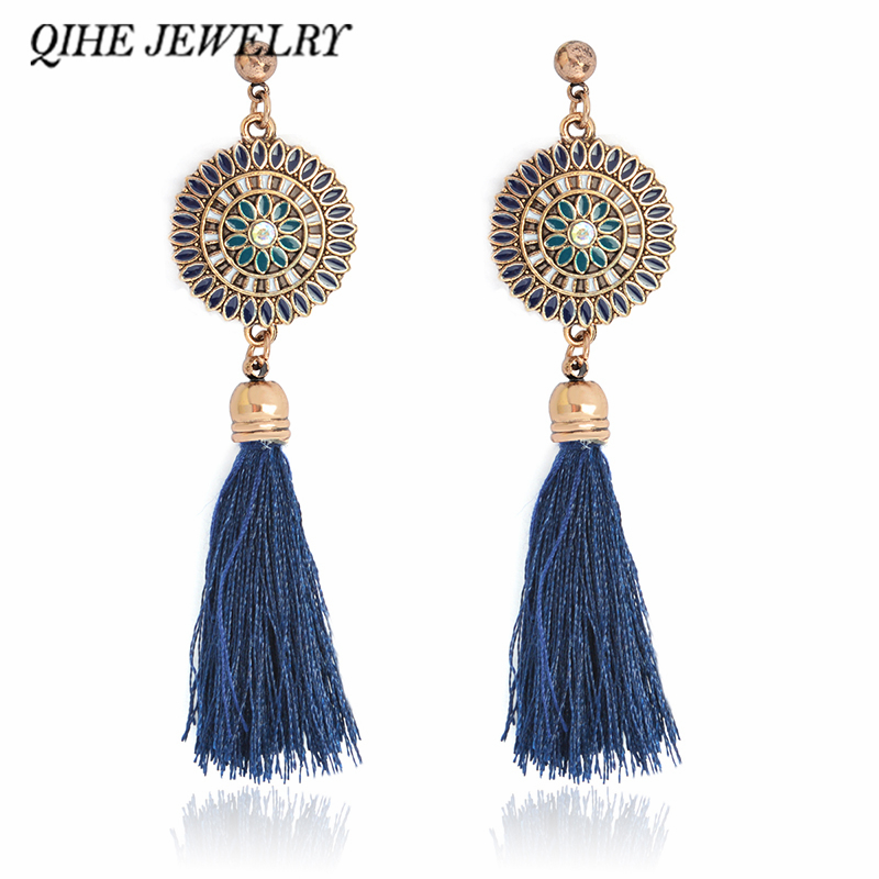 QIHE JEWELRY Tassel earring 4 color cotton fringing silk long dangle ear jewelry Earrings for women Statement earring