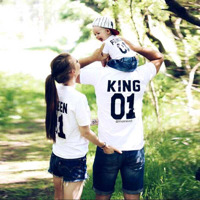 Familie Aussehen kurzarm T-shirt vater Sohn mutter und tochter kleidung 01 König Königin Prince Familie Passenden Outfits MICH MINIME