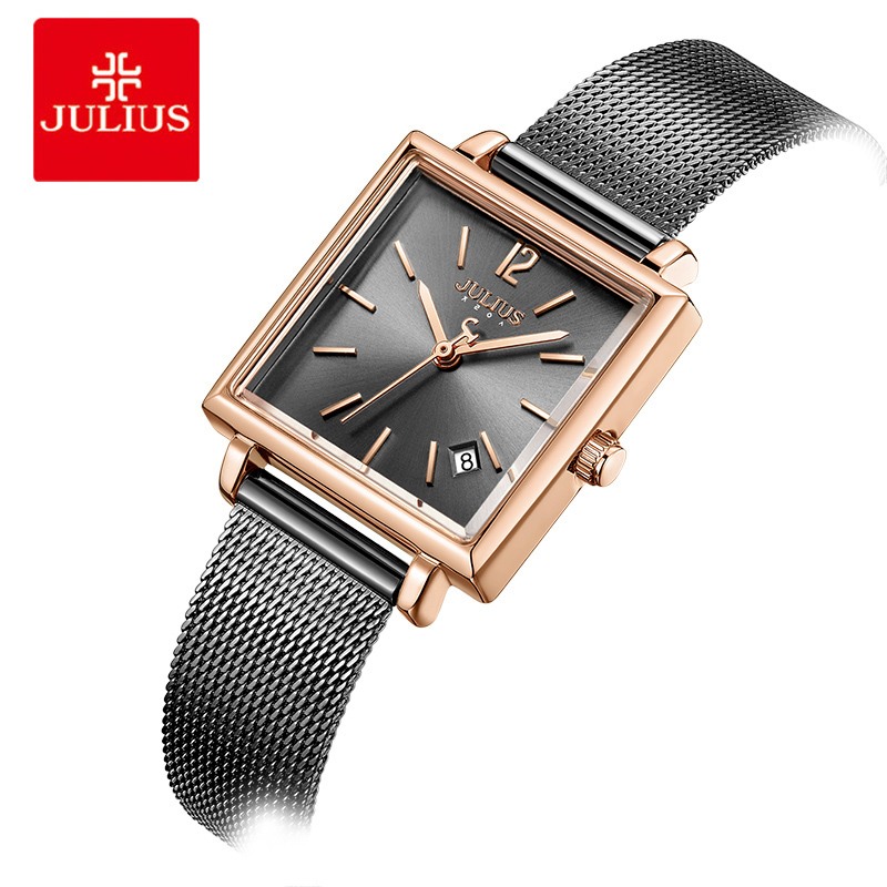 цена на Julius Womens Stainless Steel Mesh Quartz Watch Square Ladies Bracelet Watches Calendar Date Display Female Dress Wrist Watch