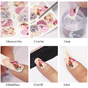 Image 5 - 1 Sheets Water Transfer Nail Stickers Pattern Simple Black Designs DIY Fashion Tips For Nail Art Watermark Decor TRSTZ638 658
