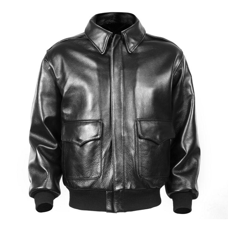 2018 hombres negro USAF piloto chaqueta de cuero Europa talla grande XXL cuero genuino grueso aviador ruso abrigo envío gratis
