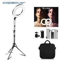 Capahorro 14 pulgadas LED anillo luz para vídeo Youtube maquillaje anular lámpara bicolor 3200 K-5500 K CRI90 foto anillo con luz