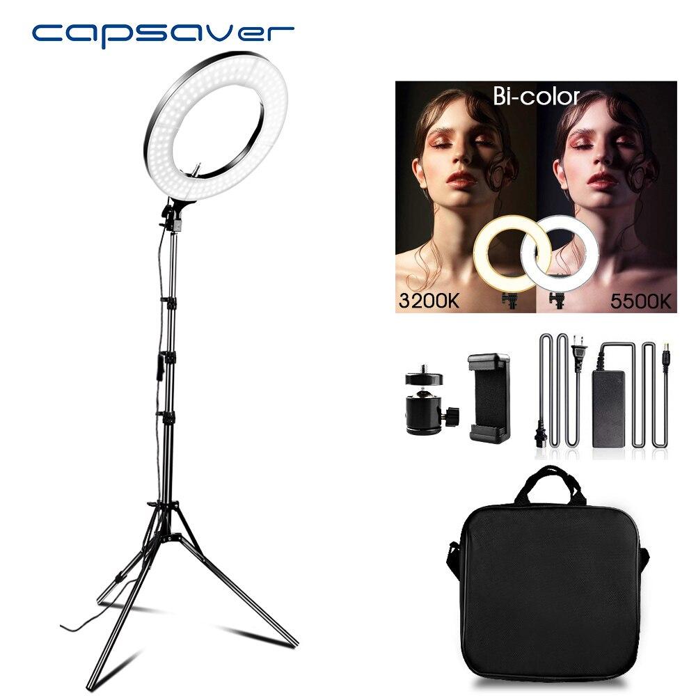 Capsaver 14 pouces LED lumière annulaire pour vidéo Youtube maquillage lampe annulaire bicolore 3200 K-5500 K CRI90 Photo anneau de lumière lampes