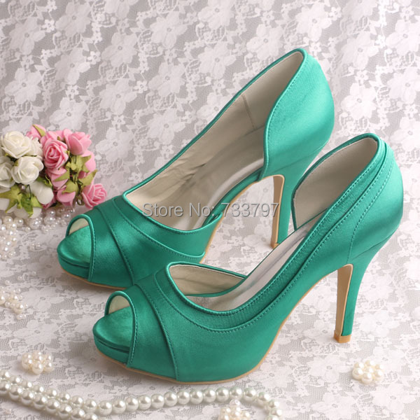 (20 Colors)Custom Handmade Open Toe Green Shoes for Women Wedding High Heeled