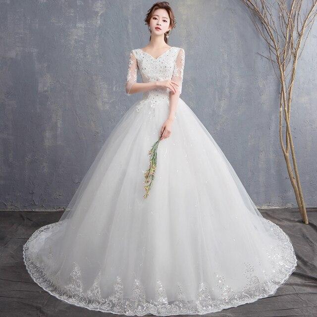 EZKUNTZA 2019 ใหม่ V เซ็กซี่ V คอต่อท้ายแต่งงานชุดดอกไม้หวานเจ้าหญิงสีขาว Lace Up Slim ชุดแต่งงาน Casamento L