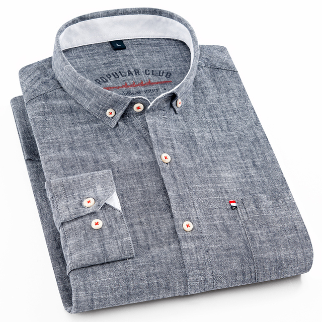 New Design Mens Shirt 80% Cotton Line Soft Long Sleeve Camicia Solid Color Slim Fit High Quality Gray Man Shirts Brand Clothing