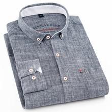 Nowy projekt mężczyzna koszula 80% bawełniana nić miękkie Camicia z długim rękawem Solid Color Slim Fit wysokiej jakości szary koszulki męskie marki odzież