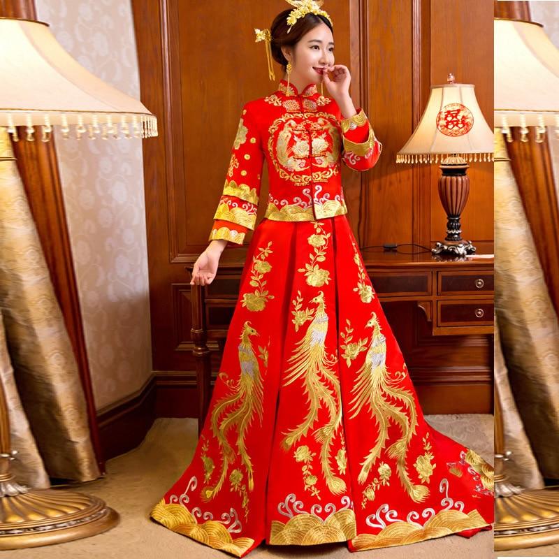 Ny drake och Phoenix Bride Kinesisk stil Marry Tailing Wedding - Nationella kläder - Foto 2
