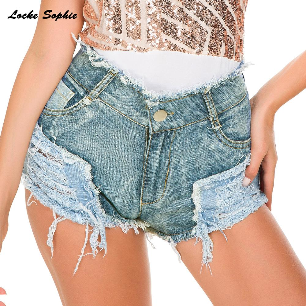 1pcs High waist Sexy Women 39 s jeans denim shorts 2019 Summer Denim cotton Splicing broken hole shorts Ladies Skinny short jeans in Shorts from Women 39 s Clothing