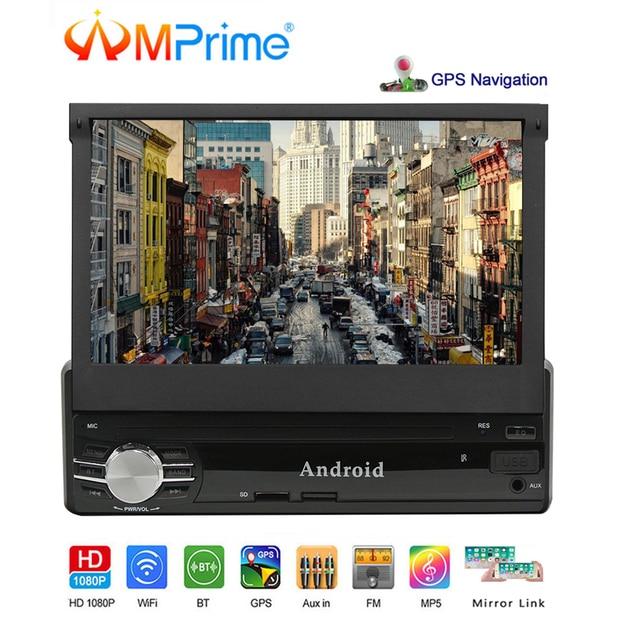 "AMPrime 1DIN Android Car Radio 7 ""GPS WiFi espejo enlace Bluetooth 1/16 GB Autoradio MP5 FM Coche reproductor Multimedia compatible con vista trasera"