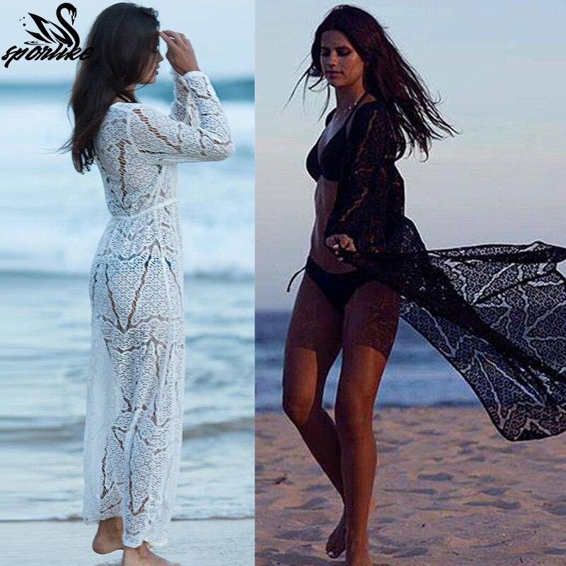 Longo De Crochê Praia encobrir Robe de Plage Swimsuit Cover up Saida de praia longa Mulheres maiô cover up túnicas de Praia