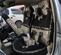 Bow Lace Universal Leopard Auto Car Seat Cover Set Short velvet 19pcs - Black