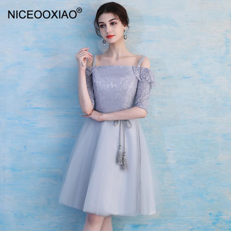 NICEOOXIAO New Sweet   Bridesmaid     Dress   Chiffon Lace Slim Party Short   Dress   Beautiful Girl Pure Color   Bridesmaid     Dress   BNLF611-22