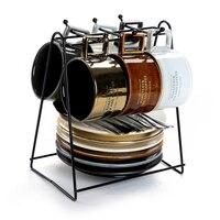 Итальянский сгущенное день Чай чашки Европейский стиль Малый Керамика Кофе Кубок Главная Кофе Керамика набор 6 чашек комплект с подстаканн
