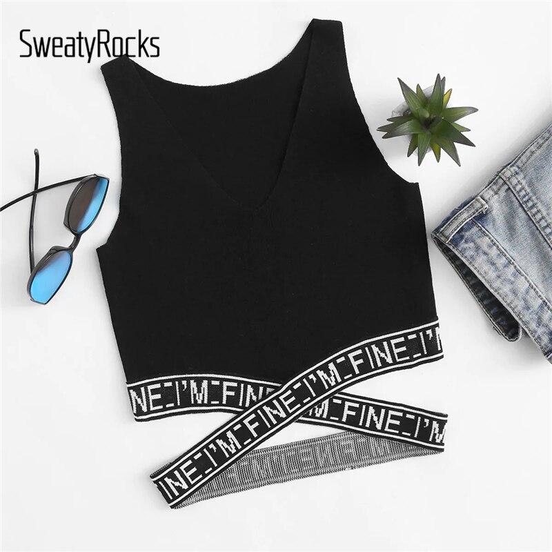 SweatyRocks Criss Cross   Tank     Top   Streetwear Sleeveless Sexy Skinny Short Vest 2019 Women Casual Slim Black Basic Crop   Tops