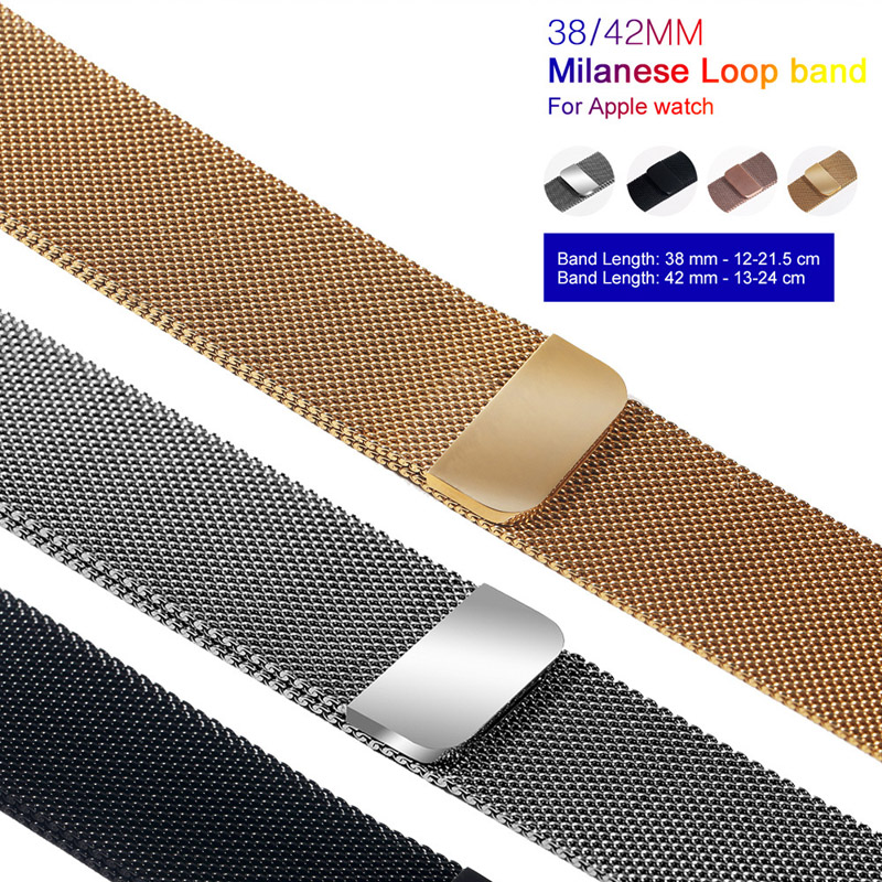 Milanese Apple Watch Band 38mm 40mm for 1 2 3 Loop Bracelet Stainless Steel band iWatch 4 42mm 44mm